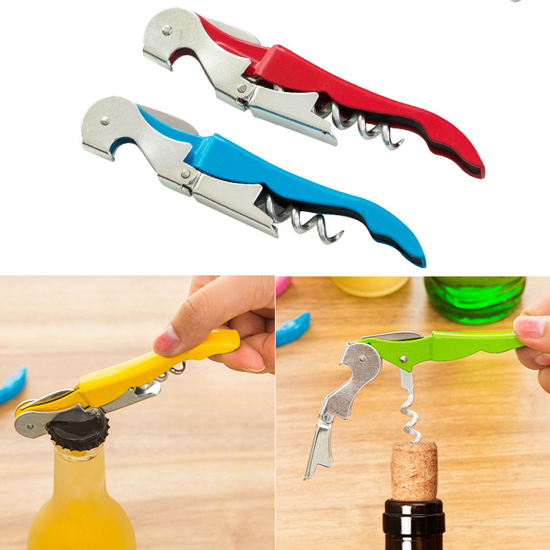 Corkscrew Doubled Hinged Waiters Wine Key Bottle Opener with Foil Cutter