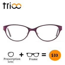 TRIOO Ladies Luxury Metal Prescription Glasses Red Flower Pa