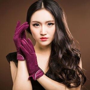 Image 3 - 2020 marca nova moda feminina genuína camurça couro luvas de lã inverno luvas de couro feminino senhora condução luvas de couro