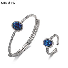 ShinyGem Blue Oval Crystal Jewelry Set Inlaid Cubic Zircon 925 Sterling Silver Bangle Bracelet Ring Bridal Jewelry Set For Women недорого