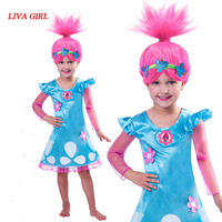 2018 New Summer Carnival Costume Trolls Dress For Kids Poppy Lace Dress Baby Girls Moana Clothes