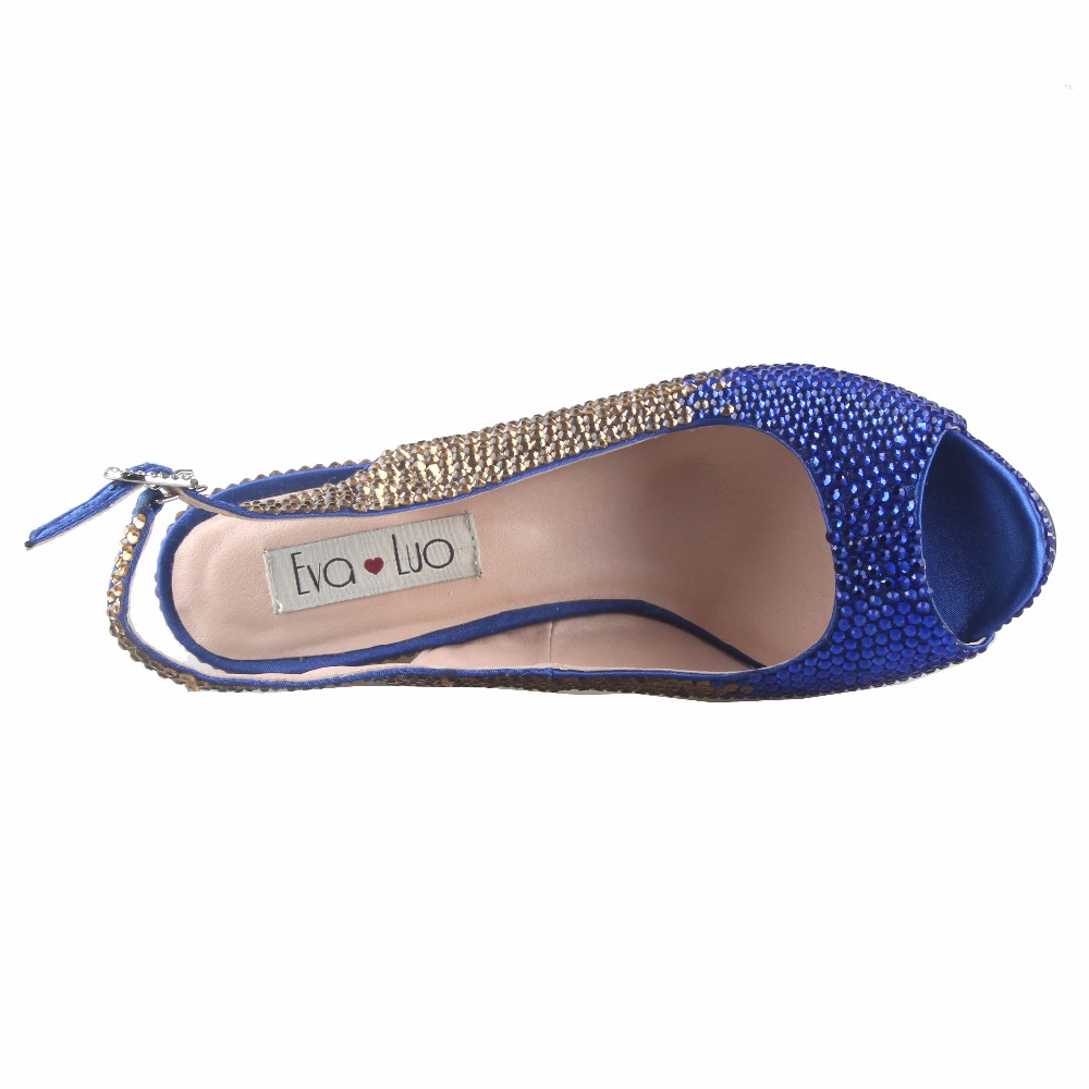 CHS816 DHL Custom Made Block Heel Royal Blue Gold Crystal African Women  Shoes Slingbacks Women Bridal Wedding Shoes Dress Pumps-in Women s Pumps  from Shoes ... 72f12cbcafb7