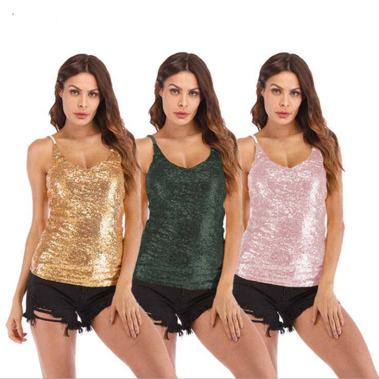Sexy V-ausschnitt Tank Tops Frauen Mode Sommer 2019 Pailletten Crop Top Weiblichen Kurzen Hot Top Krawatte Casual Camis Sexy Top mujer # v214