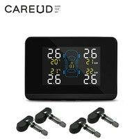 CAREUD U906 Car Wireless Tire Pressure Monitoring System 4Wheel Tires Internal Sensor Battery Replaceable LCD Display USB supply