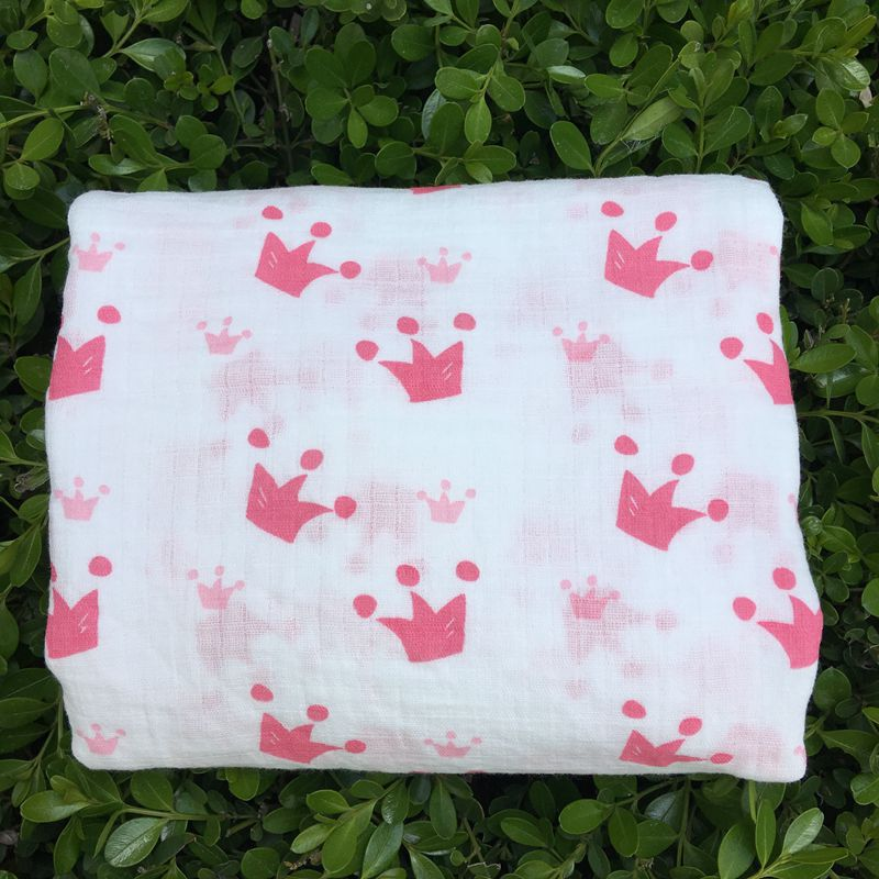 Pink Crown 100% Cotton Muslin Blankets Bedding Swaddling For Newborn Baby Blanket Swaddle Wrap Bath Towel