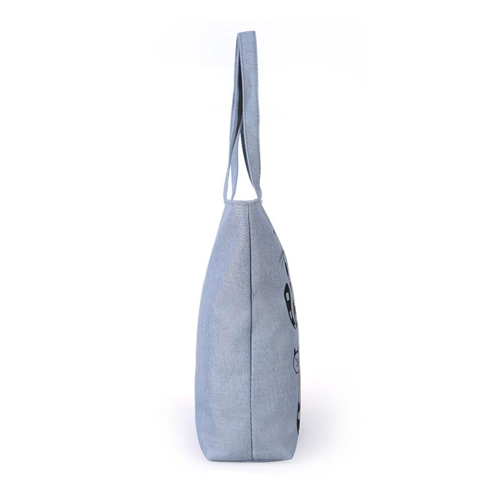 Zipper Tote Shopping Handbag Cartoon Cat Print Canvas Shoulder Bag LXX9