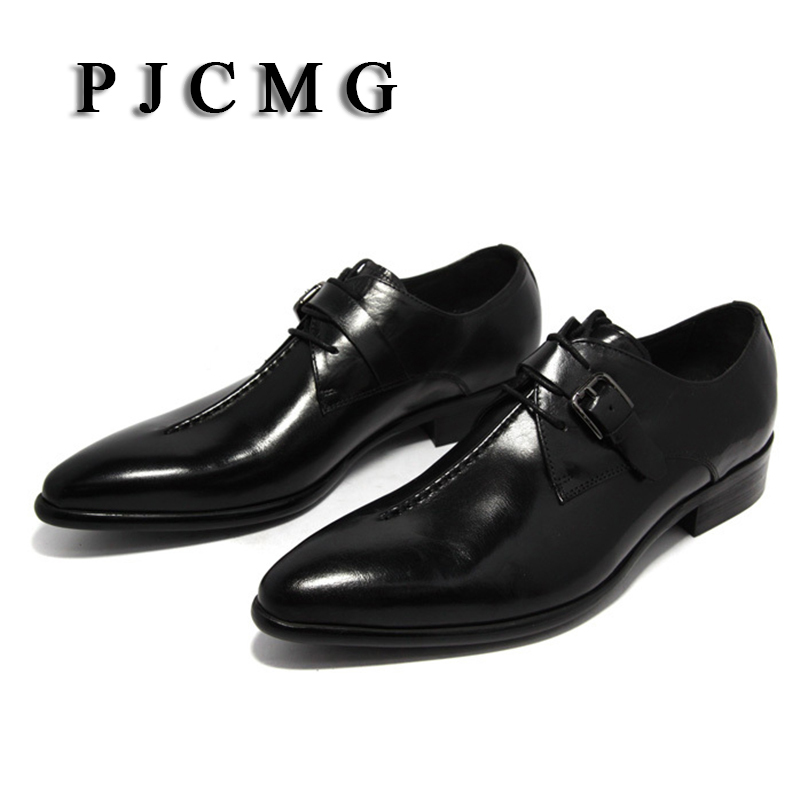 PJCMG oxford Shoes Deep coffee color Dark yellow black mens business dress shoes genuine leather pointed