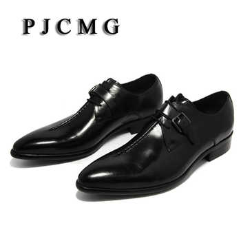 PJCMG oxford Shoes Deep coffee color/Dark yellow/ black mens business dress shoes genuine leather pointed toe mens wedding shoes - DISCOUNT ITEM  10% OFF All Category