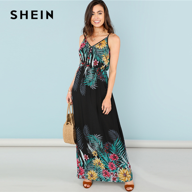 d9a6ab7af1f7 SHEIN Multicolor Vacation Bohemian Beach Flower Print Wrap Front Cami High  Waist Maxi Dress Summer Women