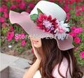 2016 Wholesale and Retail Fashion Women Wide Large Brim Floppy Summer Beach Sun Straw Hat Cap with flower Free Shipping