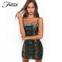 FHTEX Women Fashion Serpentine Print Bodycon Dress Sexy Spaghetti Strap Slim Casual Dress Celebrity Party Mini
