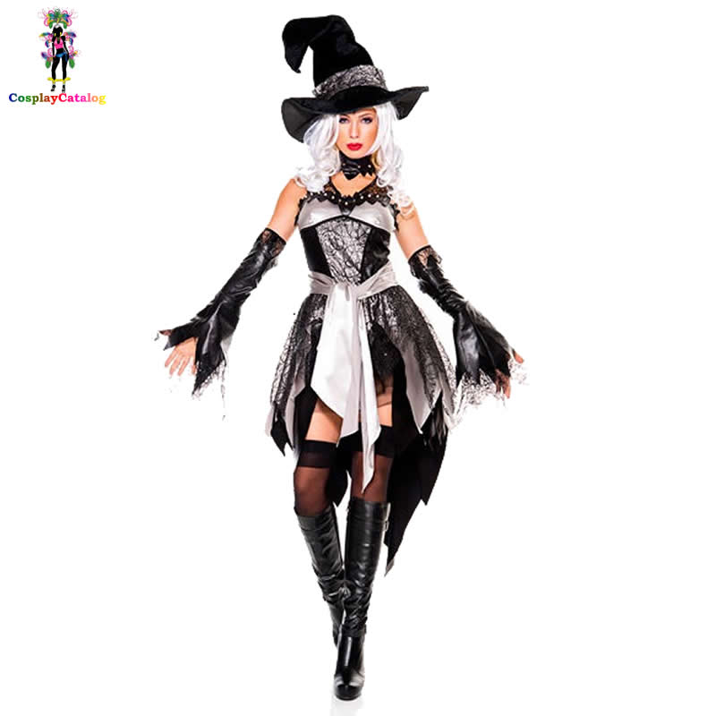 Black & White Halloween Adult Women Glam Witch Costume Female Lace Dress Wickedly Witchy Babe Costumes Grand Sorceress Outfits