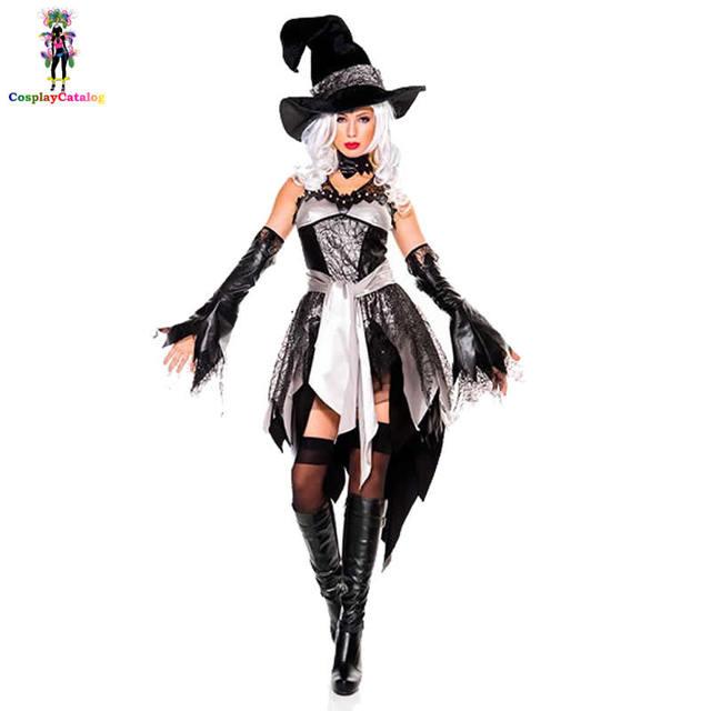 Aliexpresscom Buy Black White Halloween Adult Women Glam Witch