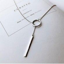 Anenjery 925 пробы серебряные ювелирные изделия круглая полоса длинная цепочка на шею ожерелья kolye bijoux femme колье ожерелье S-N51