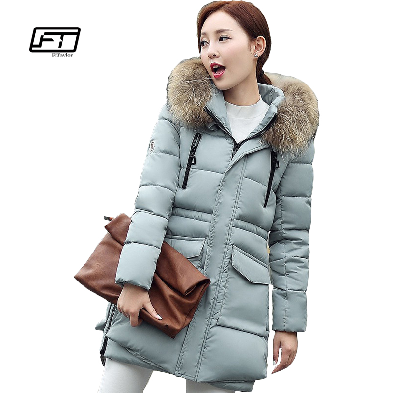 Fitaylor Larger Faux Fur Women Coat Winter Warm Slim Cotton Jacket Warm Hooded Long Parkas Zipper Women Overcoat Female Coats fitaylor 2017 fur collar hooded winter jacket women long cotton padded female coat overcoat outerwear inverno warm slim coats