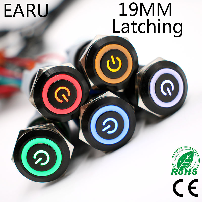 1pcs 19mm Black Waterproof Latching Maintained Flat Round Stainless Steel Metal Push Button Switch LED Light Car Horn Auto Lock gq25 11ez 25mm latching led light ring lamp type stainless steel push botton switch with flat round