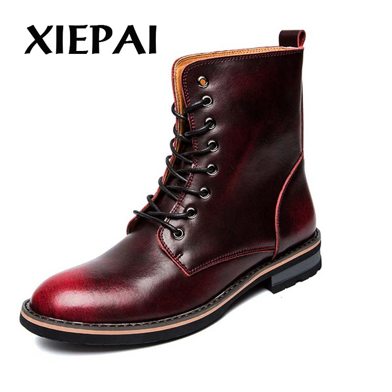 XIEPAI Brand Fashion Men Hot Leather Boots Size 38-44 Lace-up Design Man High Top Shoes Brown Red Grey