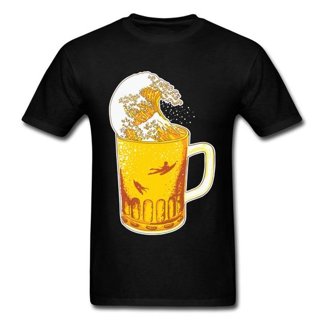 0aa0bbbfa634 Beer Tshirt Men Big Golden Wave Cheer Happy T-Shirt Father s Day Scorpio Tee  Shirt Best God Round Collar Fashion Clothes