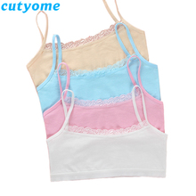 Cutyome 10pcs/lot Teenage Girls Bra and Underwear Cotton Lace Wireless Young Student Training Bras Teens Puberty Clothing Undies недорого