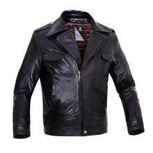 Motor Biker genuine Sheepskin Leather Jacket Motorcycle Men's Black Jacket M6