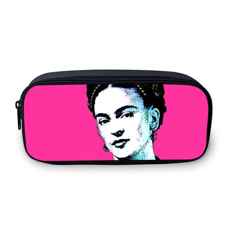 VEEVANV Lustige Frida Kahlo Druck Mädchen Federtasche Spielraum-verfassungs-fall Pen Veranstalter Brieftaschen Waschen Tasche Geldbörse Ändern Tasche