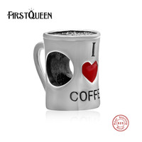 FirstQueen Brand New I Love Coffee 925 Glass Beads 100 S925 Silver Charms Fit Original Bracelets