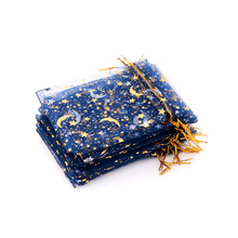 100pcs Royal Blue Organza Gift Bags 9*12cm Hot Stamping Organza Wedding Party Favor Gift Bag Jewelry Packaging Pouches Earring
