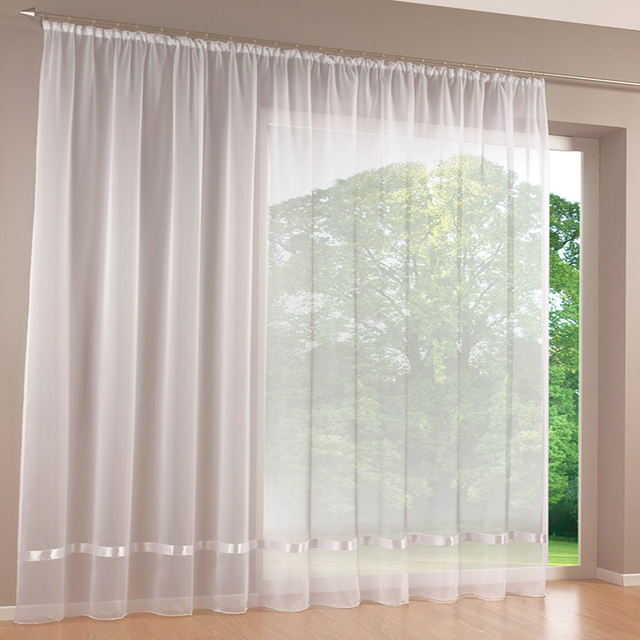 2017 luxury white sheer curtains transparent organza voile tulle window curtains for living room bedroom curtains - White Sheer Curtains