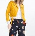 Новое Прибытие 2017 марка Зима Осень Мотоцикл кожаной куртки желтый кожаная куртка женщин кожаное пальто тонкий PU Кожаная куртка