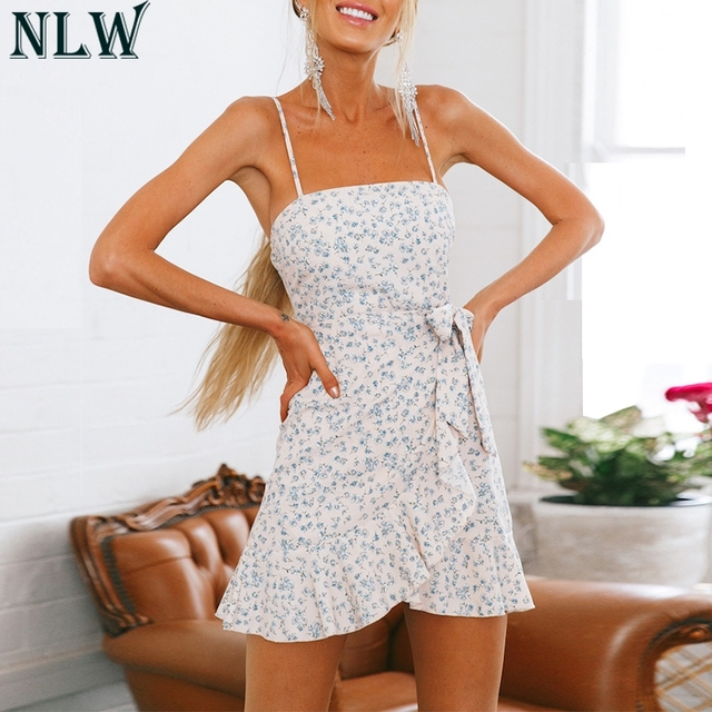 NLW White Vintage Dress Spaghetti Strap Wrap Dress Floral Print Back Zipper  Girl Summer Mini Dress