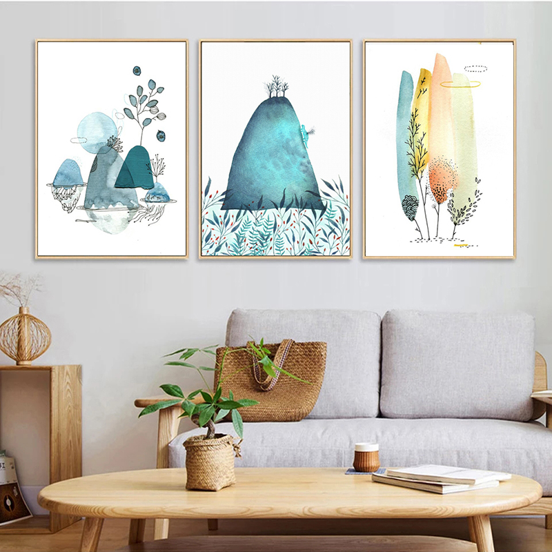 Nordic Abstract Watercolor Hill And Tree Art Canvas Painting Poster Prints Modern Home Decor Wall Pictures No Framed