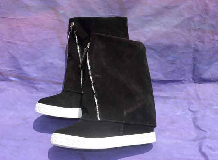 Spring New Brand Women Solid Black/Gray Color Round Toe Zipper Front 8 cm Height Increasing Wedges Mid-calf Short Boots LadySpring New Brand Women Solid Black/Gray Color Round Toe Zipper Front 8 cm Height Increasing Wedges Mid-calf Short Boots Lady