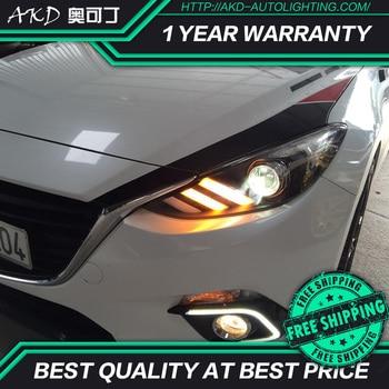 AKD tuning cars Headlight For Mazda 3 Axela 2014-2016 mustang Headlights LED DRL Running lights Bi-Xenon Beam Fog angel eyes