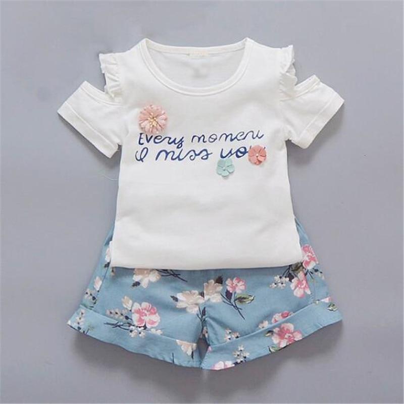 d34eae0b18b BibiCola Summer Children Baby Girls Clothing Sets Kids Tracksuit 2PCS  Cotton Sport Suit Flower Letter Tops