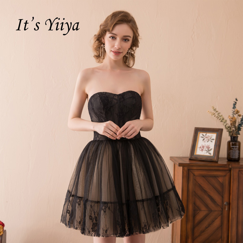 It's YiiYa Black Strapless Backless Sexy Ball Gown Lace Up Tulle Mini Above Knee Cocktail Dresses Formal Dress Party Gown HPS001