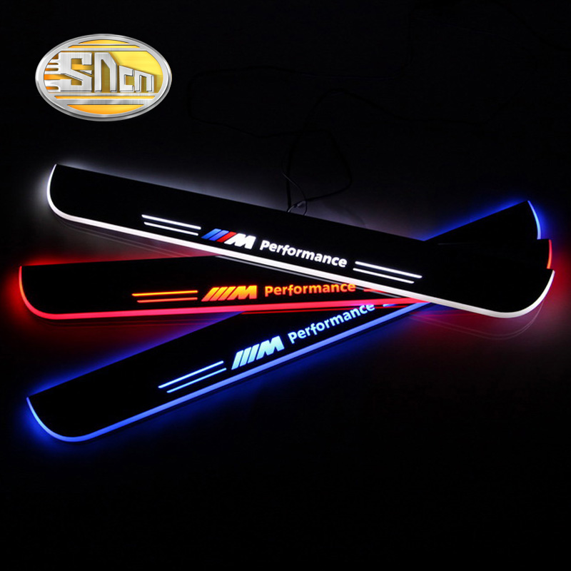 SNCN Waterproof Acrylic Moving LED Welcome Pedal Car Scuff Plate Pedal Door Sill Pathway Light For BMW F30 F35 2013 2014 2015 fsylx led door moving scuff welcome pedal door sill plate light for audi q3 2013 2015 white led pedal light for q7 2006 2015