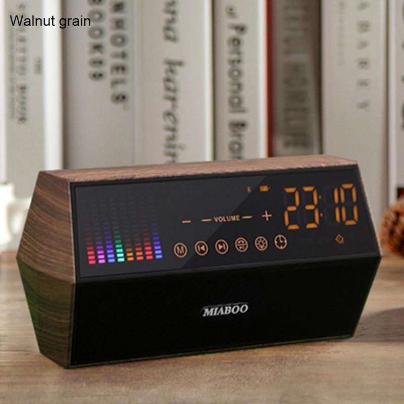 Ретро классический стиль, текстура древесины светодиодная Сенсорная панель fm-радио, Часы Дисплей Смарт часы Беспроводной bluetooth-динамик