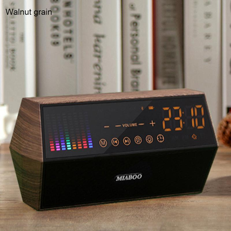 цена Retro classic wood grain LED touch panel FM radio clock display smart clock Wireless Bluetooth speaker