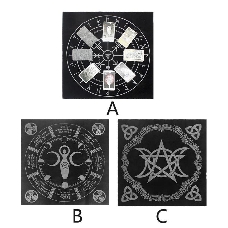 49x49cm Tarot Tablecloth Triple Moon Pentagram Pagan Altar Tarot Cloth Flannel