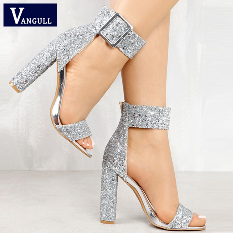 3328127947aa Summer Fashion Sweet Party Women s shoes Stylish Sequin Open Toe Chunky  Heeled Sandals Buckle Strap Bling Basic Women s Sandals
