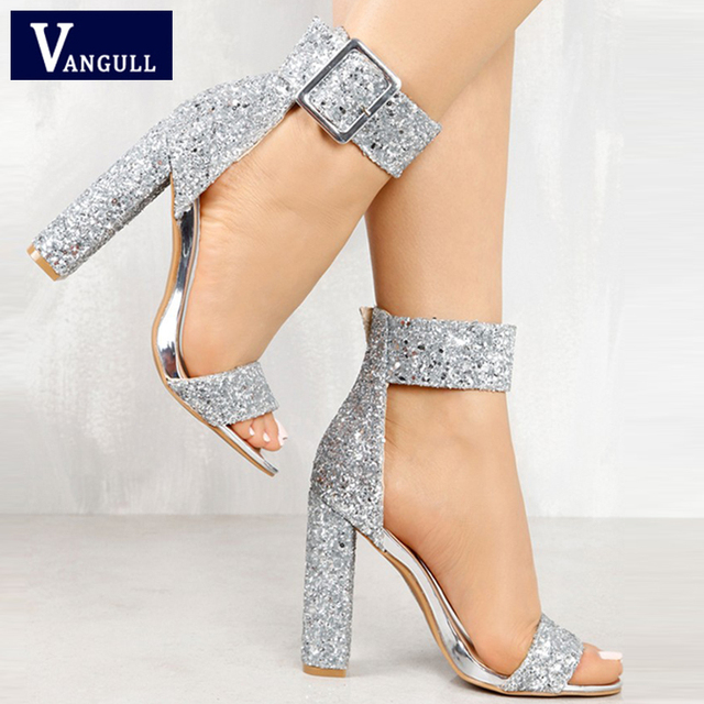 Summer Fashion Sweet Party Women s shoes Stylish Sequin Open Toe Chunky  Heeled Sandals Buckle Strap Bling Basic Women s Sandals