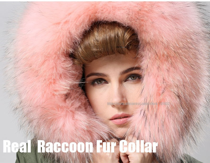 Factory wholesale price Women's Vintage Retro Fur Hooded Military Parka Jacket Coat with pink lined and collar fur mr 33