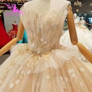 Image 3 - AIJINGYU 高級ウェディングプラスサイズブライダルドレス王室光沢のあるショートフロント脂肪サイズセクシーなオンライン自由奔放に生きるウェディングサイト
