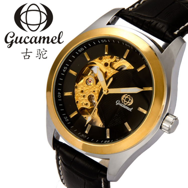 GUCAMEL Top Brand Luxury Automatic Mechanical Watches Mens Hollow Waterproof Wristwatch Male Steel Leather Watch Relojes Hombre wrist switzerland automatic mechanical men watch waterproof mens watches top brand luxury sapphire military reloj hombre b6036