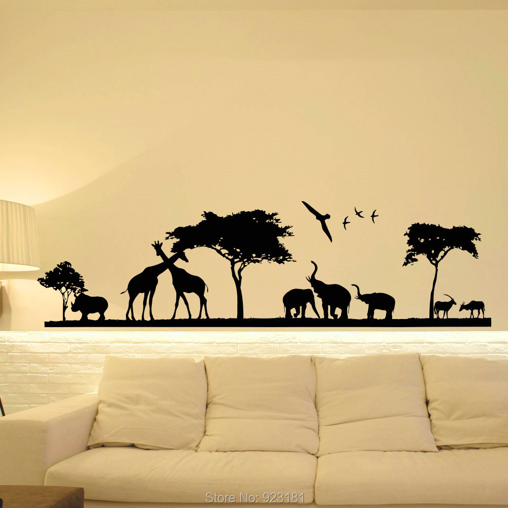 Wall decoration stickers for bedroom - Hot Safari Jungle Animal Nursery Wall Art Stickers Decal Home Diy Decoration Wall Mural Bedroom Decor