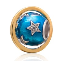 Enamel Blue Earth Charm with Gold Plated 925 Sterling Silver Bead for European Snake Chain Bracelet