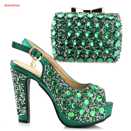 doershow African aso ebi party green shoes and bag matching set free shipping high quality italian shoes and bags !HAA1-25 doershow african shoes and bags fashion italian matching shoes and bag set nigerian high heels for wedding dress puw1 19