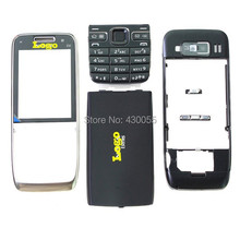 Black New Full Housing Cover Case + Front Outer Glass Screen + Keypads + Buttons For Nokia E52,free shipping