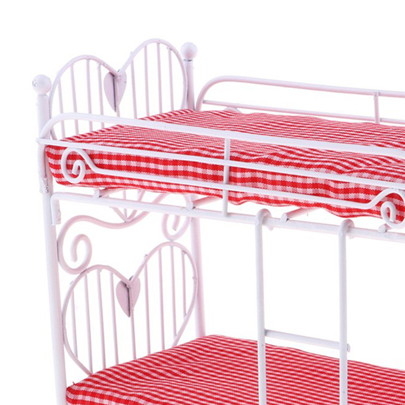 1//12 Dollhouse Accessories Mini Furniture Iron Frame Two-layer Bed Doll Bunk Bed