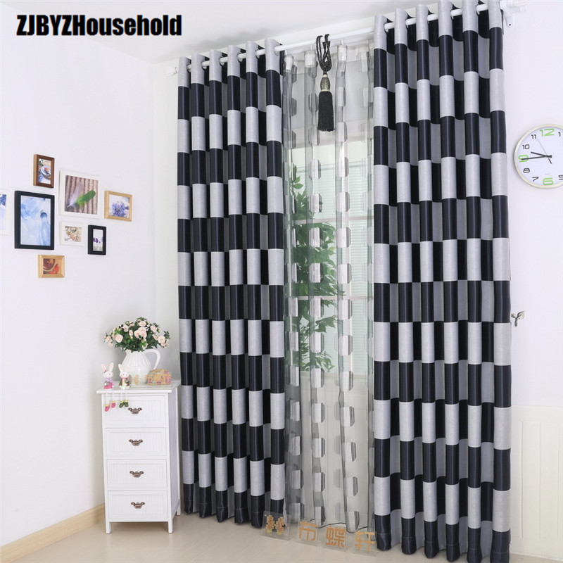 High Grade Environmental Protection Black Silk Shading Curtains Cloth For Living Dining Room Window Drapes